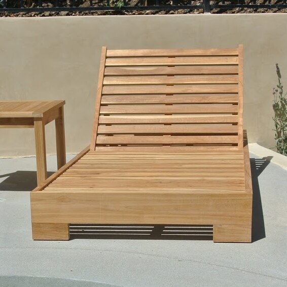 Willow Creek Designs Pacific Reclining Teak Sun Lounger Set With Cushion And Table Wayfair Ca