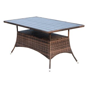 Chad Wooden Slat Top Wicker Dining Table