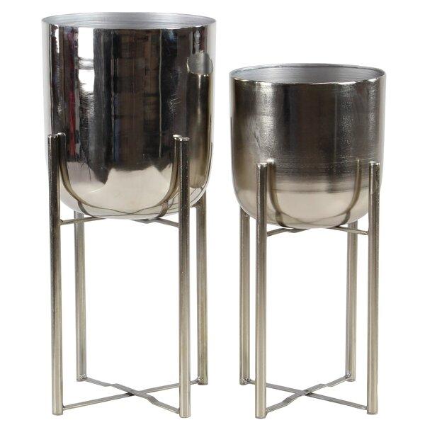 Contemporary 2 Piece Metal Pot Planter Set Reviews Allmodern