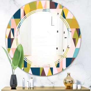 Triangular Design I Triple C Modern  Contemporary Frameless Wall Mirror by East Urban Home