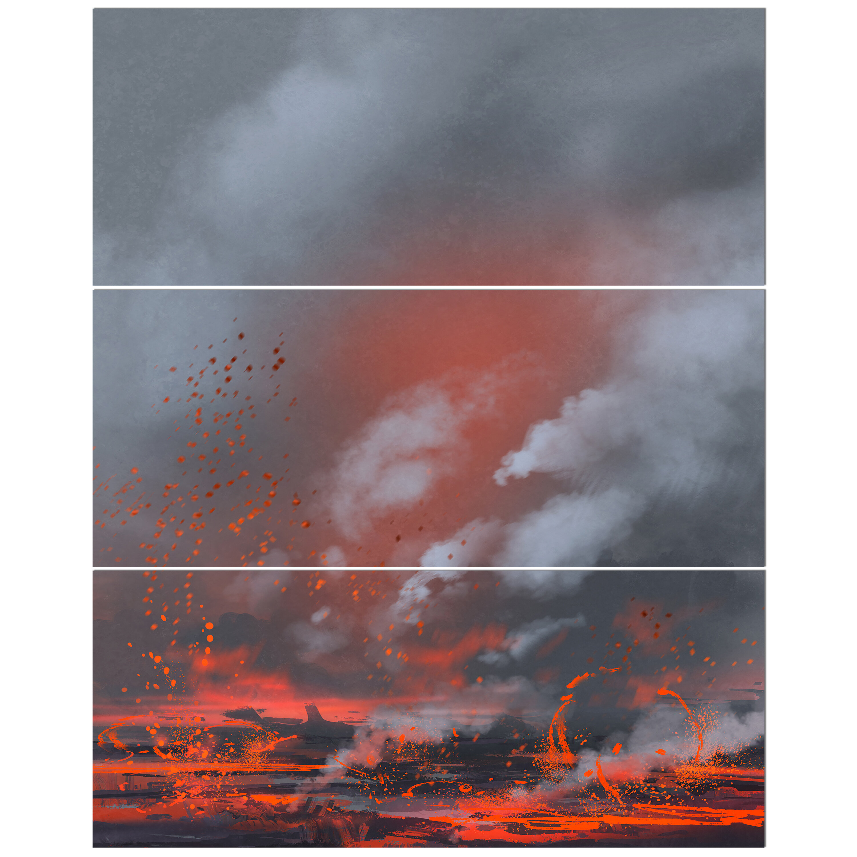 East Urban Home Volcano Eruption Oil Painting Print Multi Piece
