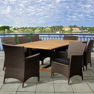 Beachcrest Home Dowd 9 Piece Teak Dining Set With Cushions