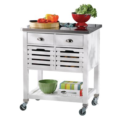 Fulton Kitchen Cart with Stainless Steel Top & Reviews   Joss & Main