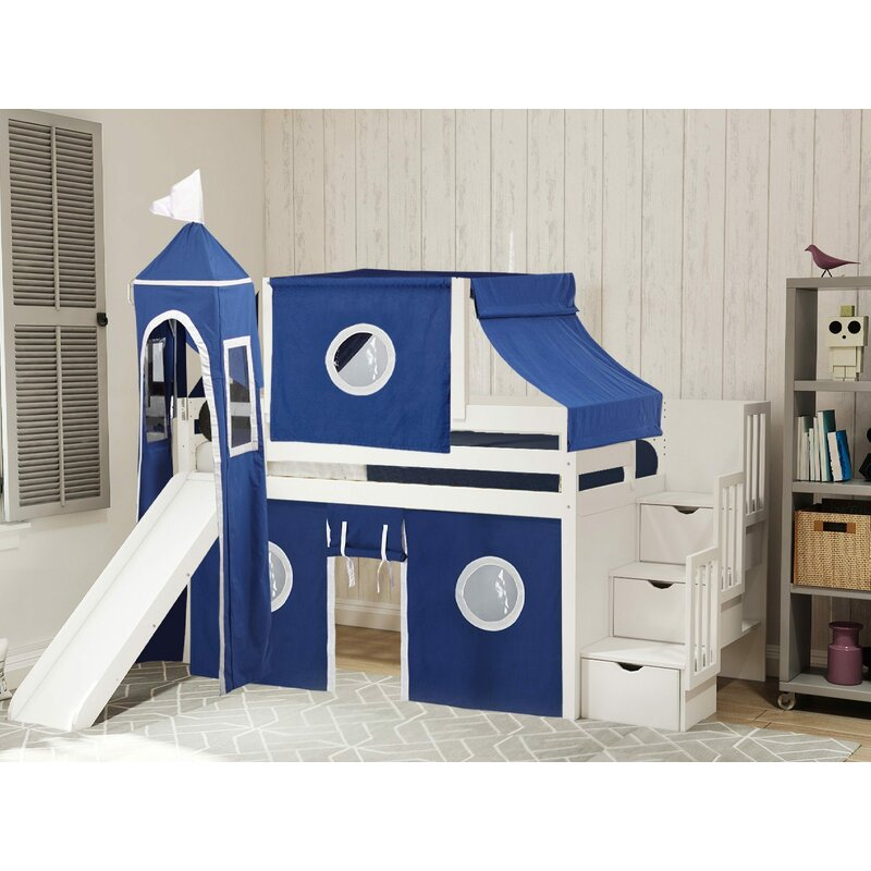 Zoomie Kids Johannes Castle Twin Low Loft Bed With 3 Drawers