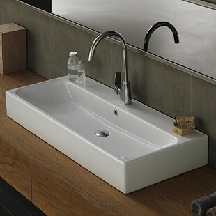 Best Reviews Pinto Ceramic Rectangular Vessel Bathroom Sink with Overflow By CeraStyle by Nameeks