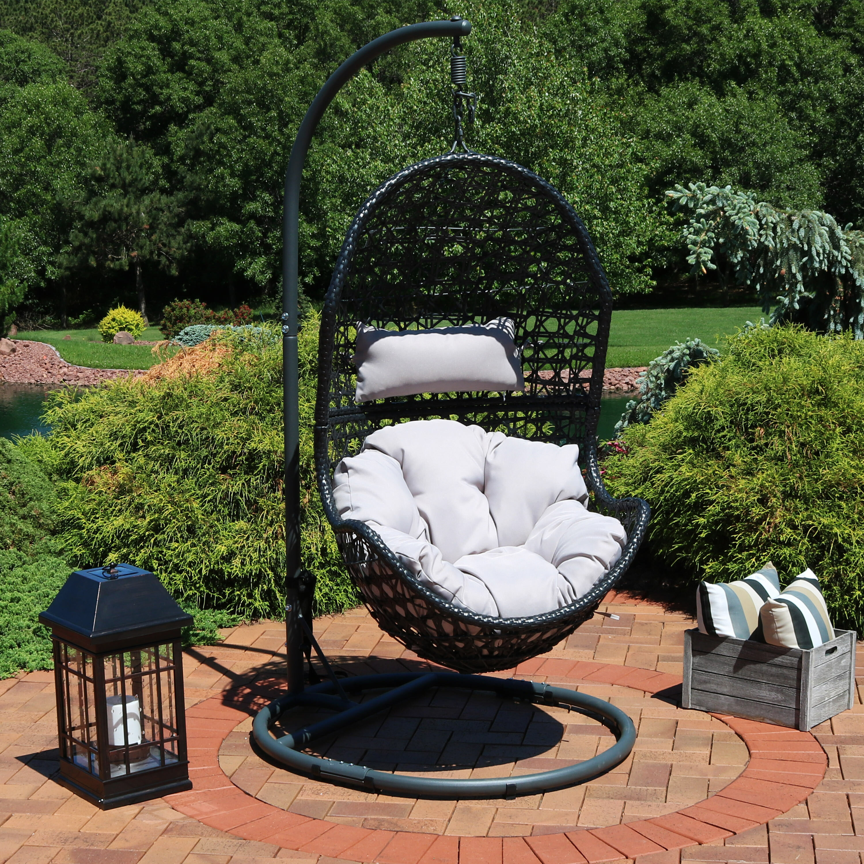 Picture of: Brayden Studio Abrams Hanging Egg Chair Hammock With Stand Reviews Wayfair