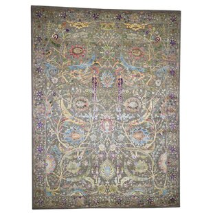 One-of-a-Kind Batchelder Sickle Leaf Hand-Knotted 9' x 12' Wool/Silk Brown Area Rug ByIsabelline