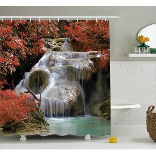 Landscape Fall Trees with Rock Single Shower Curtain