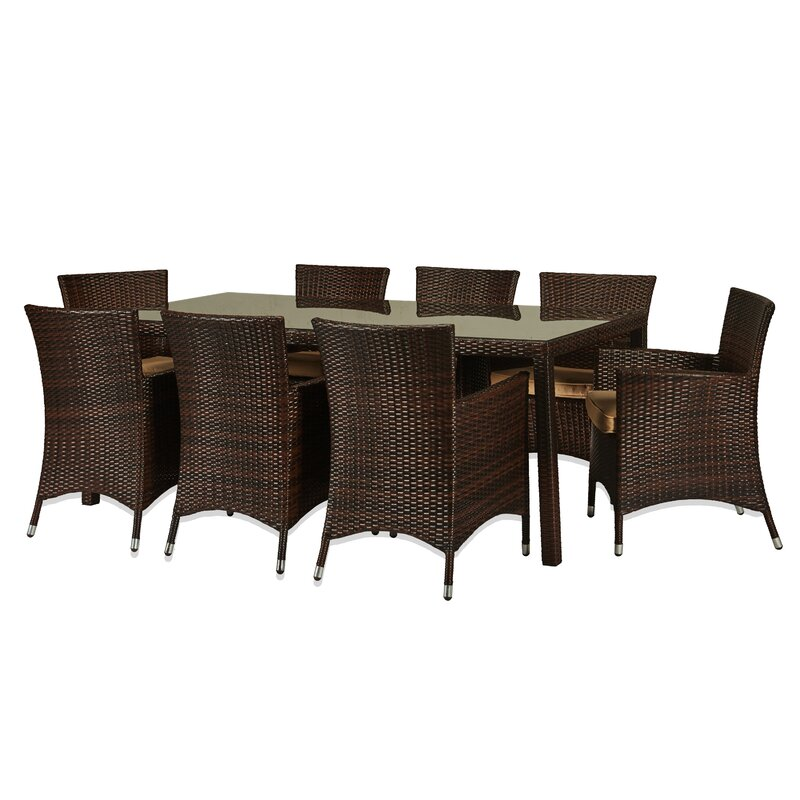 Beautiful Kennerdell 9 Piece Patio Set With Cushions