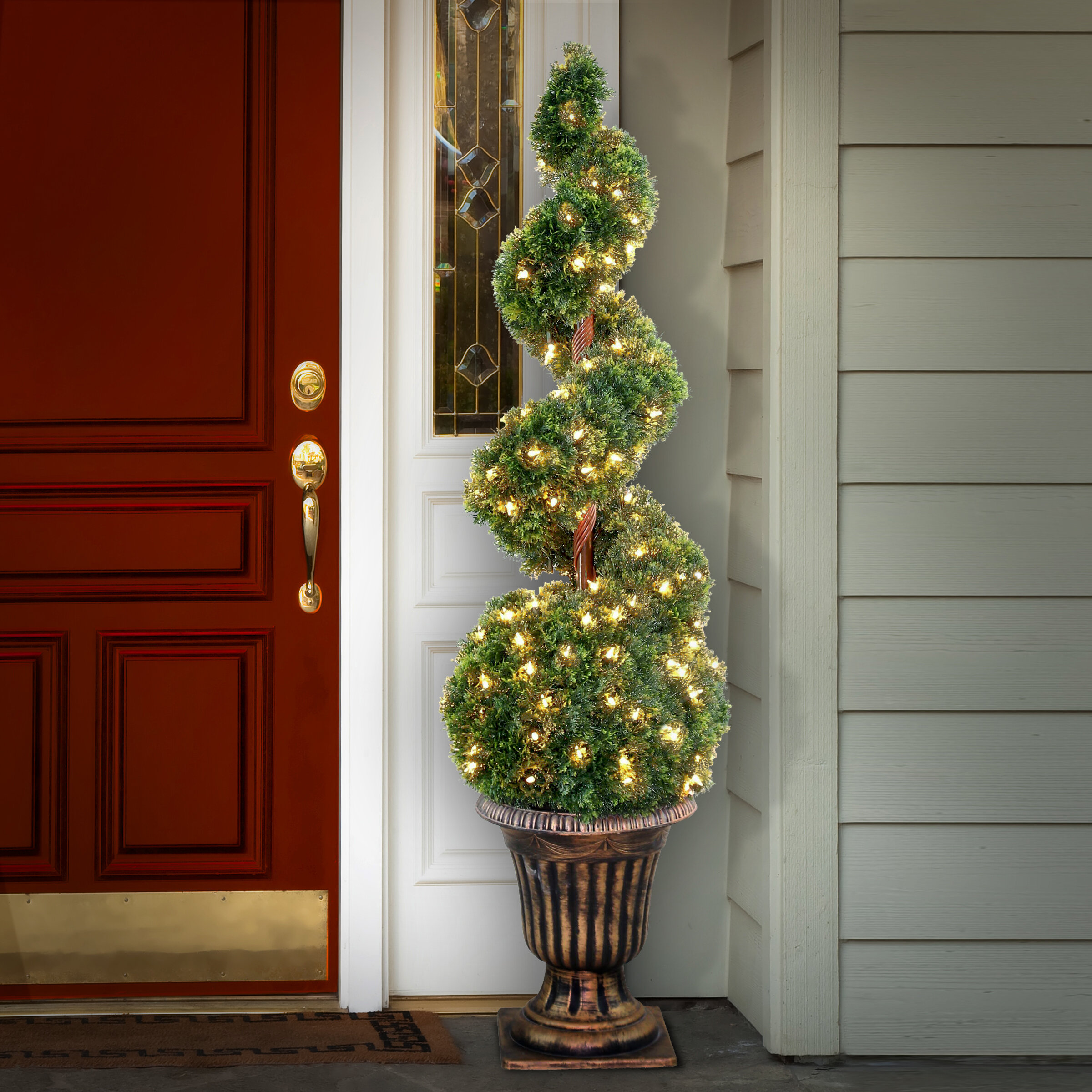 The Holiday Aisle Artificial Moss Topiary In Urn Reviews Wayfair