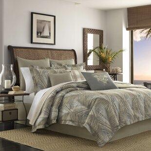Tommy Bahama Home Raffia Palms 100% Cotton 3 Piece Reversible Duvet Set