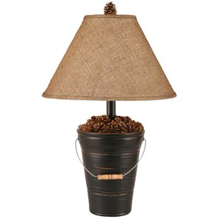 Rustic Living Bucket of Pine Cones 28 Table Lamp