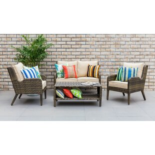 Spicer Outdoor 4 Piece Rattan Sofa Seating Group with Cushion