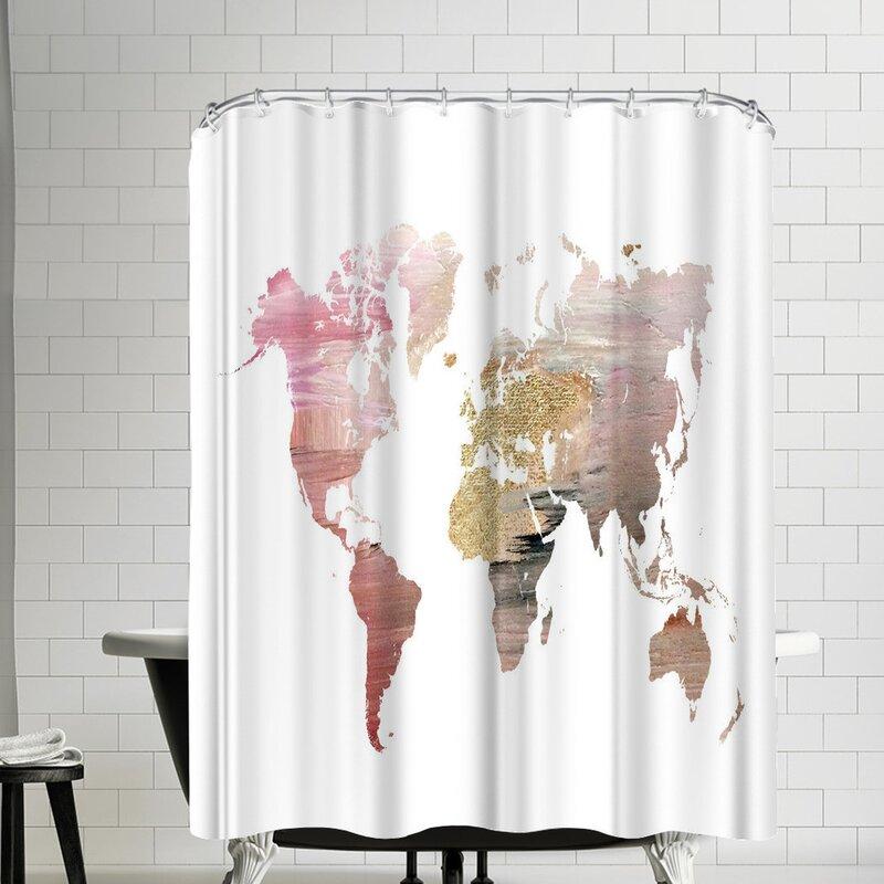 East Urban Home Ikonolexi World Map Shower Curtain Wayfair