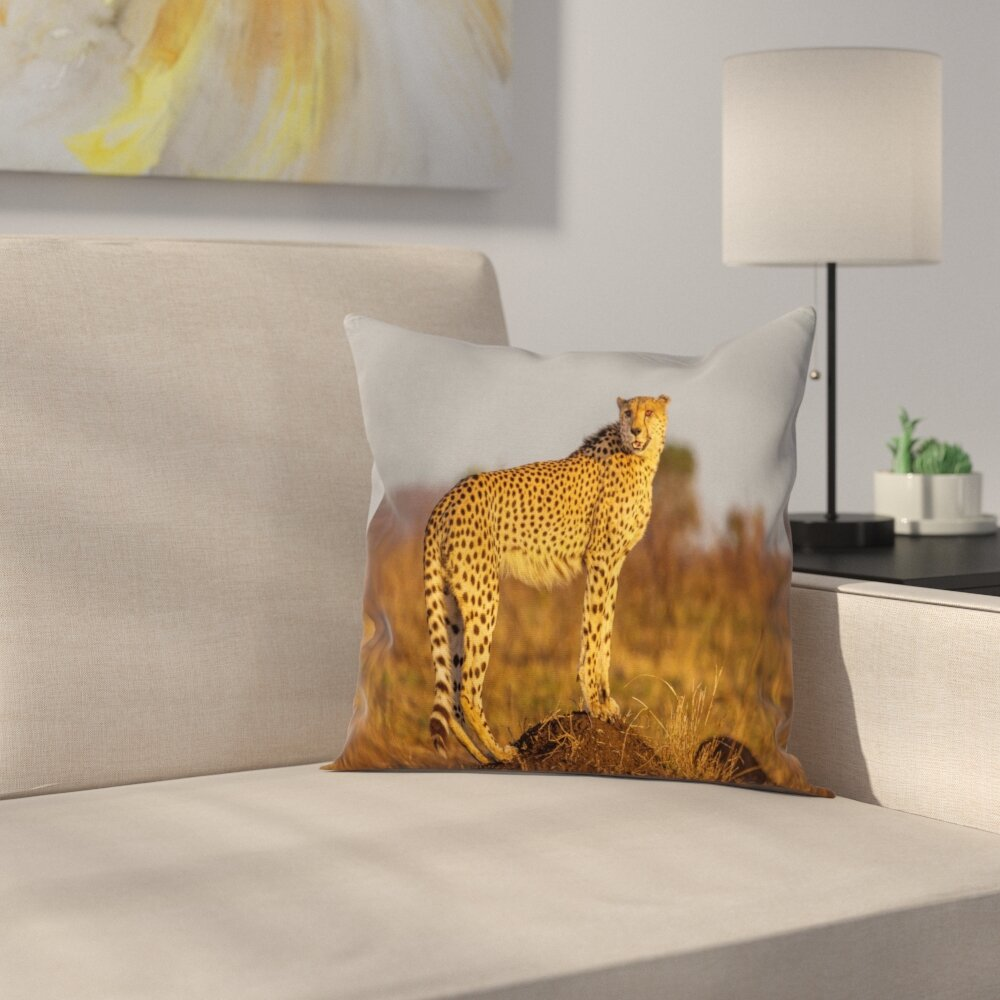 East Urban Home Safari African Wild Cheetah Square Pillow Cover Wayfair