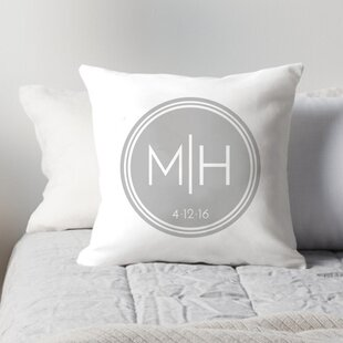 Personalized Couples Initials in Circle Throw Pillow