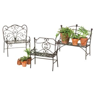 3 Piece Metal Garden Bench Set