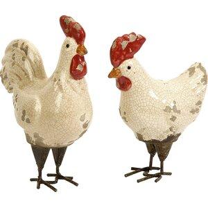 Tignor 2 Piece Rooster Figurine Set