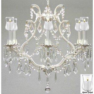 Rosdorf Park Clemence 6-Light White Shaded Chandelier