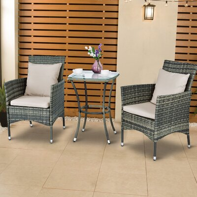 Lought 3 Piece Bistro Set With Cushions by Longshore Tides Cheap