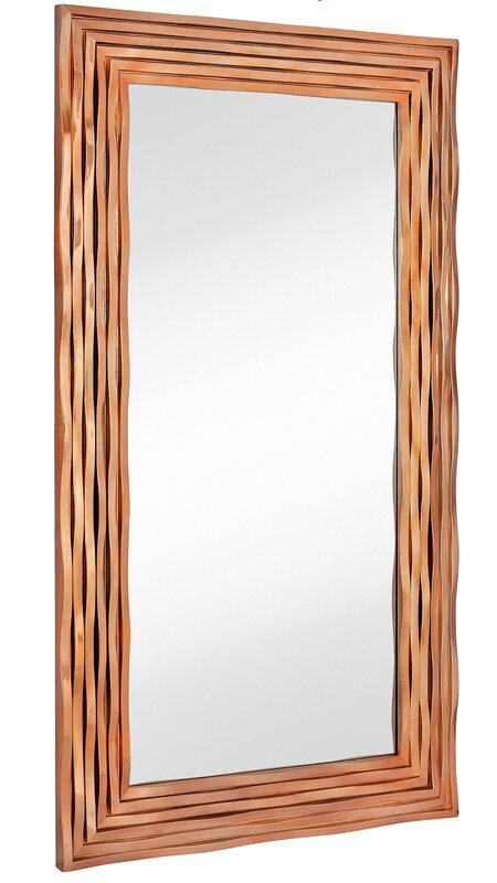 Perfect Large Rectangular Contemporary Wavy Polished Rose Gold Framed Glass Wall  Mirror