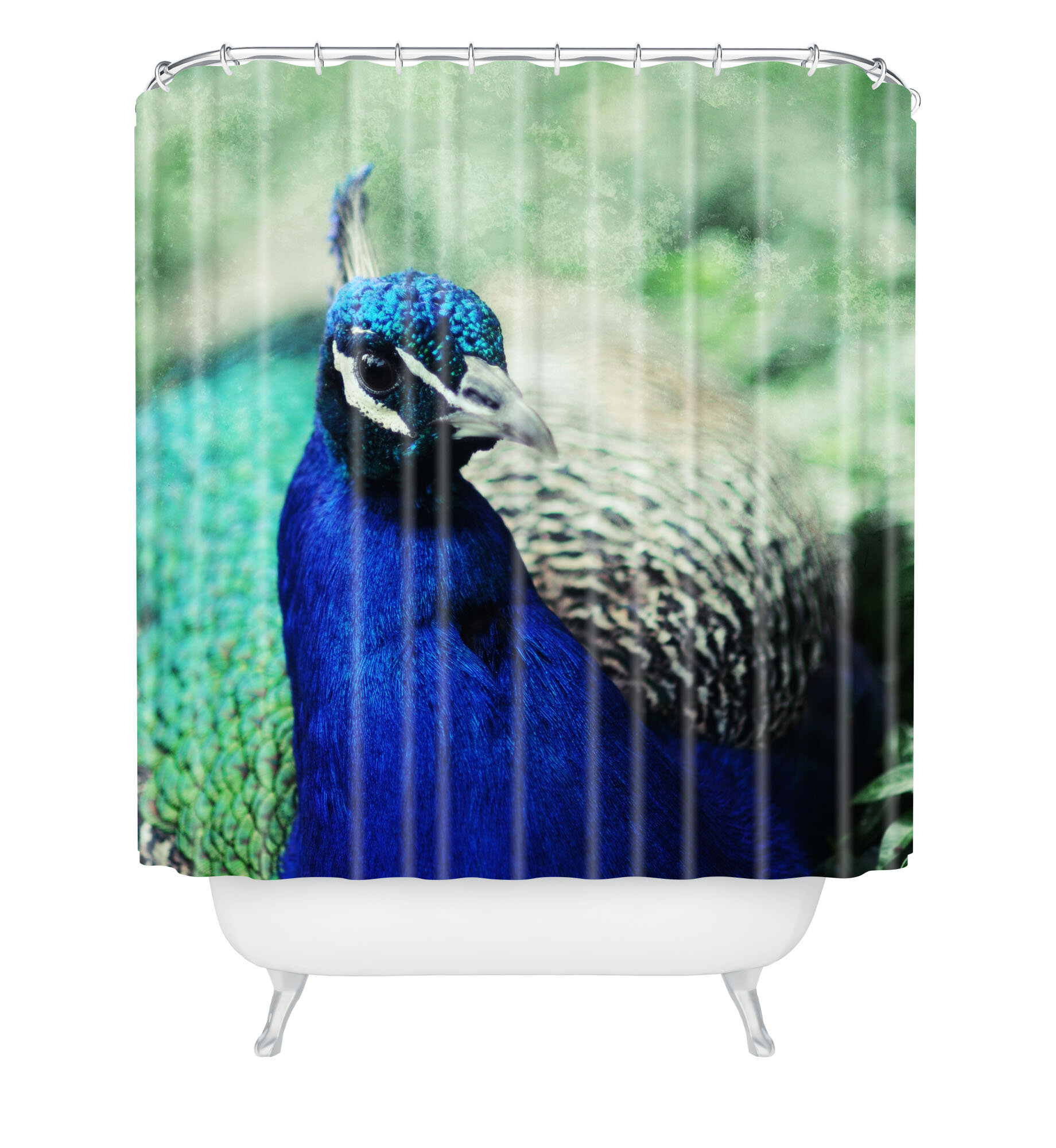 Green Peafowl Waterproof Bathroom Polyester Shower Curtain Liner Water Resistant