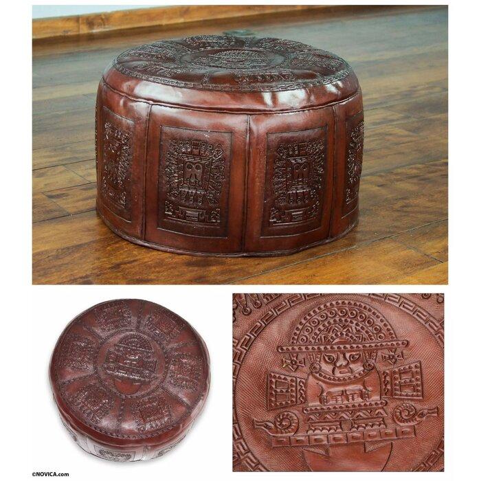 Miraculous Sayles Inca Light Leather Ottoman Evergreenethics Interior Chair Design Evergreenethicsorg