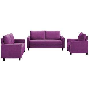 Janitza 3 Piece Velvet Living Room Set by Latitude Run