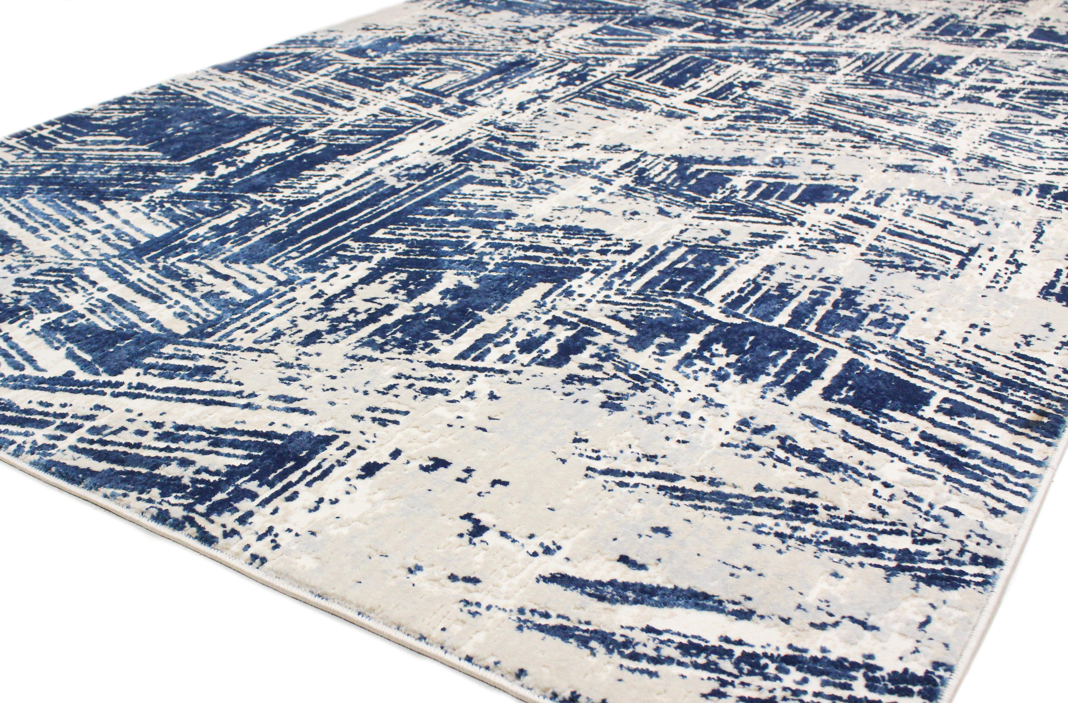 17 Stories Cipriani Power Loom Blue Ivory Rug Wayfair