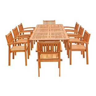 Longwood 9-Piece Dining Set by Rosecliff Heights
