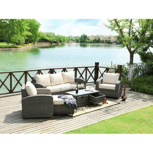 Castro 5 Piece Rattan Sofa Set with Cushions