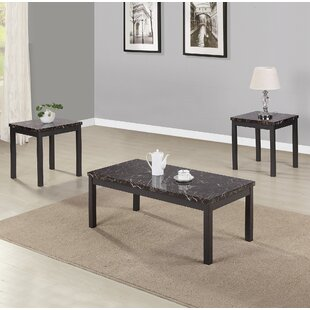 Moravian Modern Faux Marble 3 Piece Coffee Table Set