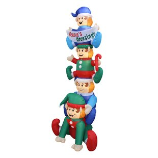 stacked elves yard christmas inflatable - Disney Christmas Inflatables