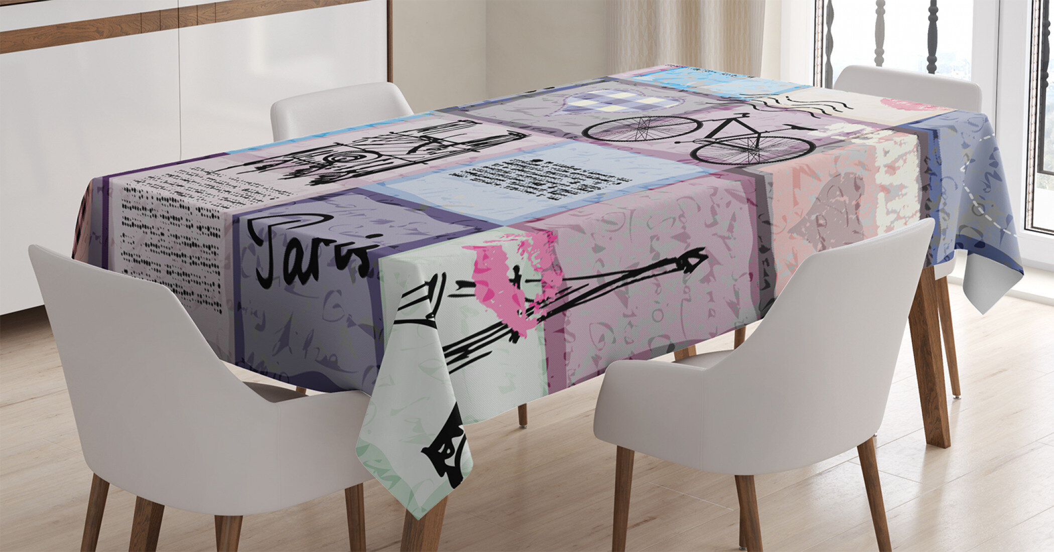 Ambesonne Paris Tablecloth Grunge Textured Retro Collage Of Paris With Famous Object Eiffel Tower Europe Theme Rectangular Table Cover For Dining