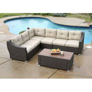 Alcott Hill Lanclos 5 Piece Sectional Seating Group with Cushions