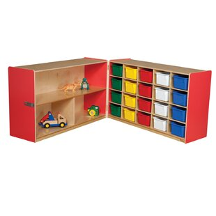 Deals Half and Half Folding 20 Compartment Shelving Unit with Trays By Wood Designs