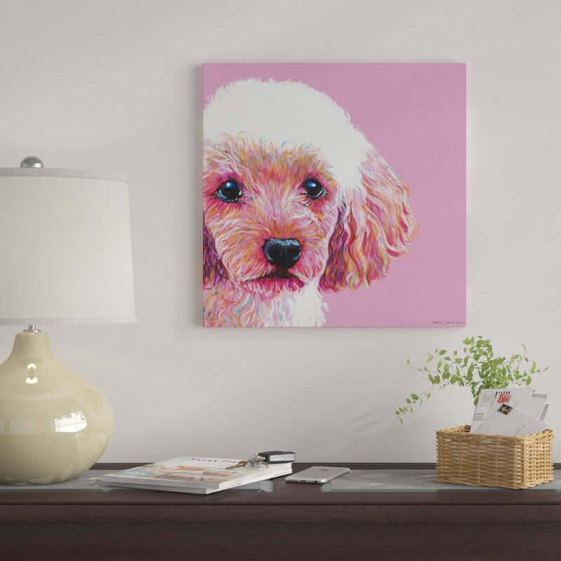 East Urban Home Poodle On Pink Square By Kirstin Wood Graphic Art Print On Canvas Wayfair