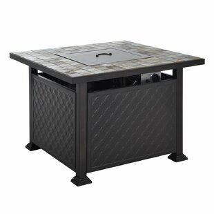 Outsunny Slate Tile Mantel Aluminum Propane Gas Fire Pit Table