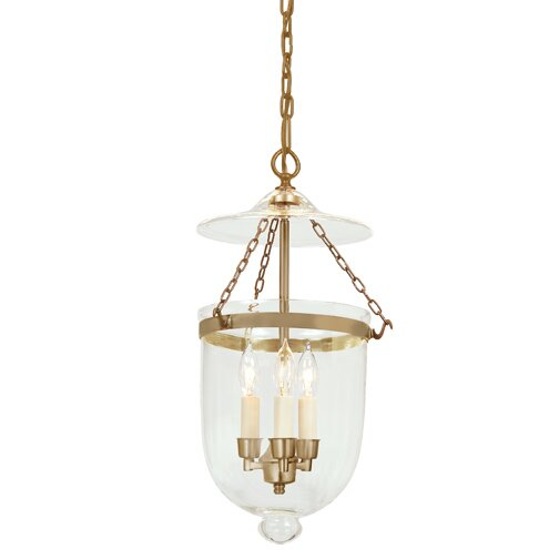 3-Light Medium Bell Jar Foyer Pendant #belljar