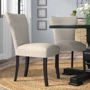 Salmon Upholstered Contemporary Parsons Chair (Set of 2)