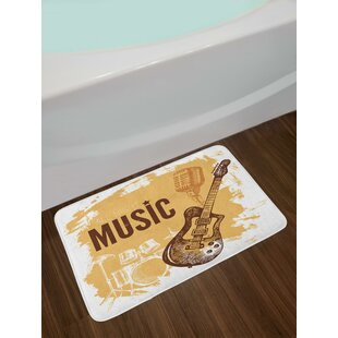 Vintage Sketch Hand Drawn Drums and Microphone Pattern Abstract Backdrop Bath Rug