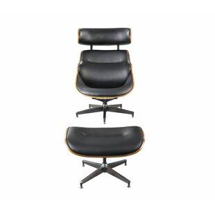 Corrigan Studio Cheryle 2 Piece Modern Swivel Lounge Chair and Ottoman