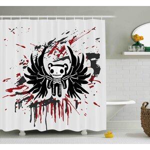 Francis Halloween Teddy Bones With Skull Face and Wings Dead Humor Funny Comic Terror Design Shower Curtain Ebern Designs
