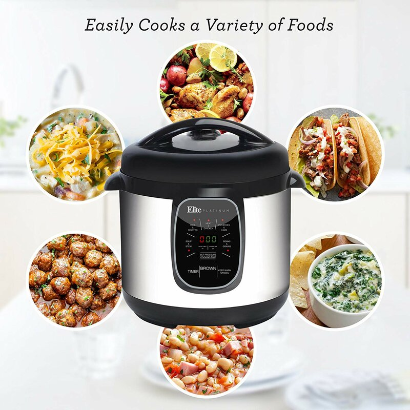 Elite by Maxi-Matic Platinum 8-Quart Electric Stainless Steel Pressure  Cooker with 6 Functions