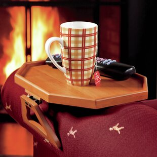 Savings Wooden Clip-On Armchair Table with Protective Lip ByPlow & Hearth