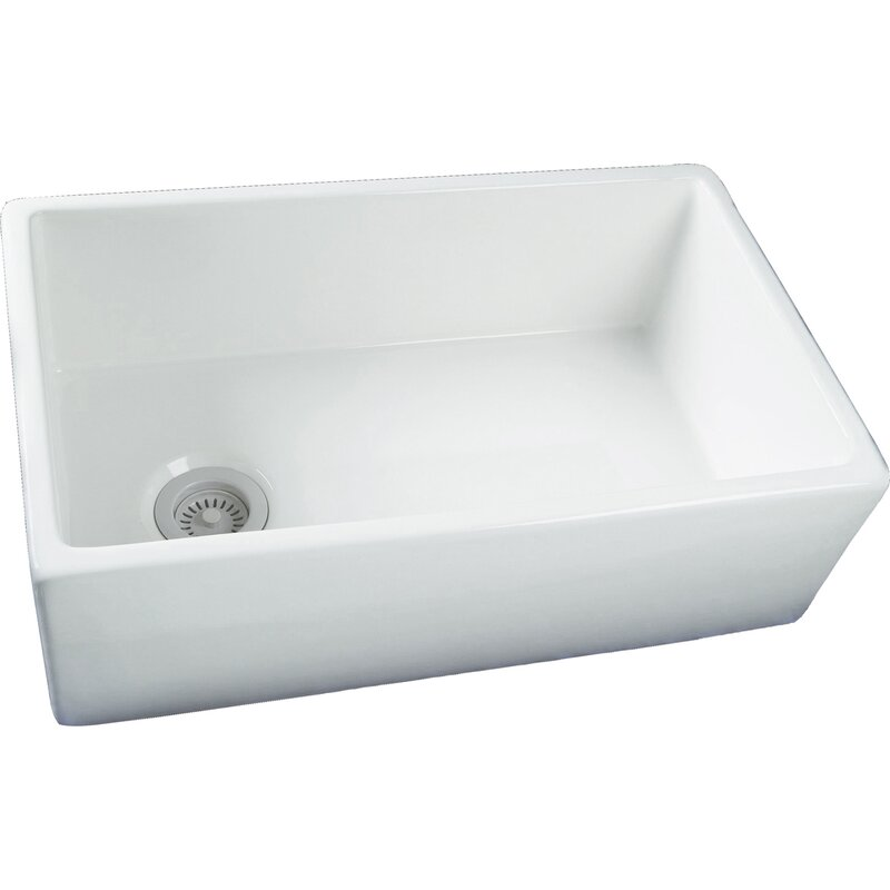 "29.75"" x 17.88"" Single Bowl Fire Clay Farmhouse Kitchen Sink"