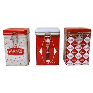 Coca-Cola Square Lock-Top 3 Piece Kitchen Canister Set