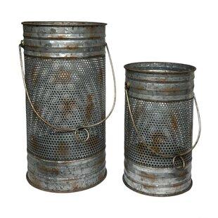 Gracie Oaks 2 Piece Mesh Metal Lantern Set