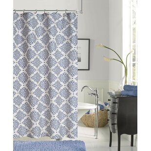 New Modern Linen Look Printed Single Shower Curtain