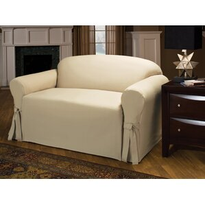 Tie Cotton Blend Box Cushion Loveseat Slipcover by Three Posts